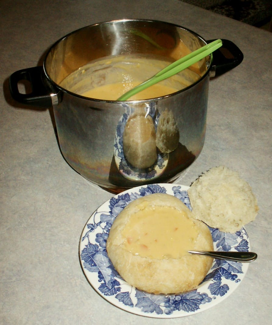 Wisconsin Cheese Soup in Homemade Bread Bowls