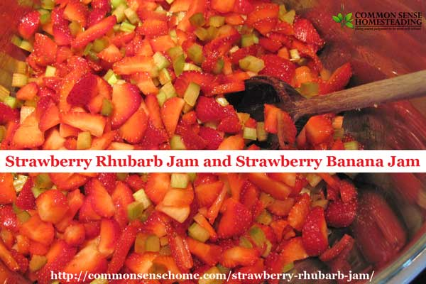 Strawberry rhubarb jam and strawberry banana jam - two easy traditional style strawberry jam recipes to add a little variety to your jam making.