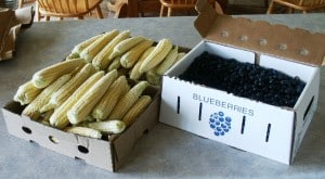 corn and blueberries