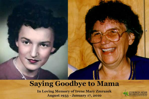 Saying Goodbye to Mama - A eulogy to my late mother, Irene Zmrazek, who passed away in January 2010. She will live forever in my heart.