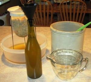 funneling dandelion wine