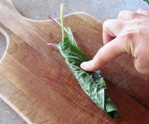 chopping plantain leaves