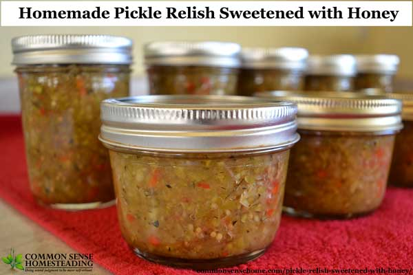 This easy homemade pickle relish recipe teams up your fresh cucumbers or zucchini with honey, apple cider vinegar and spices to make a delicious condiment.