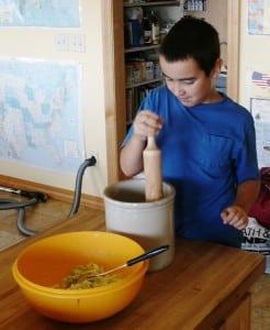 dunc inspecting sauerkraut