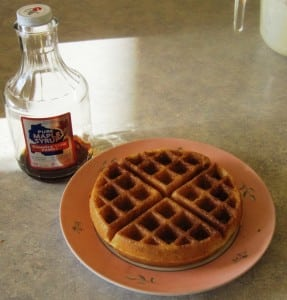 waffle and maple syrup