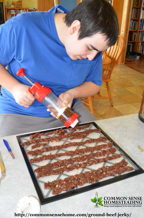 Making homemade ground beef jerky with a jerky gun.