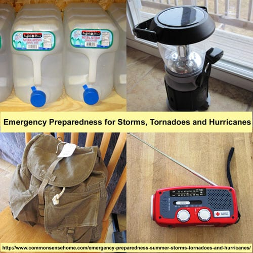 3 Step Emergency preparedness for summer storms. Plan ahead with food, water, sanitation, first aid, light/emergency radio, heat/cooking, and personal preps