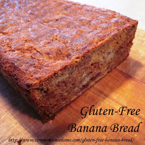 Gluten free banana bread recipe sweetened with stevia and honey @ Common Sense Homesteading
