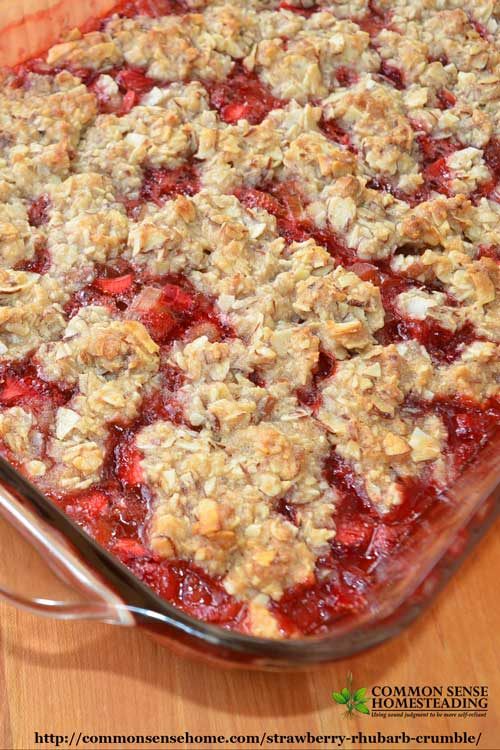 Strawberry Rhubarb Crumble - Enjoy this seasonal combination of fruits fresh or frozen. Goes together in minutes, gluten free, sweetened with honey.