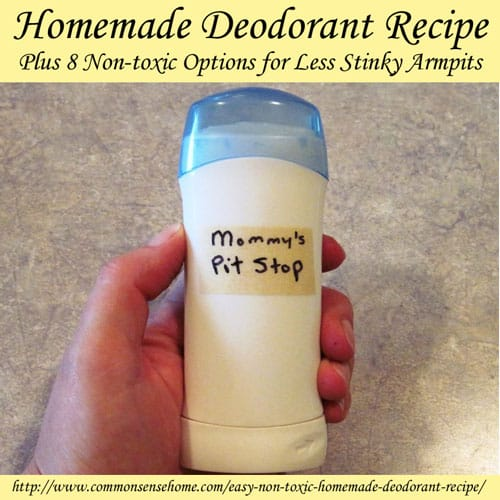 Homemade Deodorant Recipe Plus 8 Non-toxic Options for Less Stinky Armpits @ Common Sense Homesteading