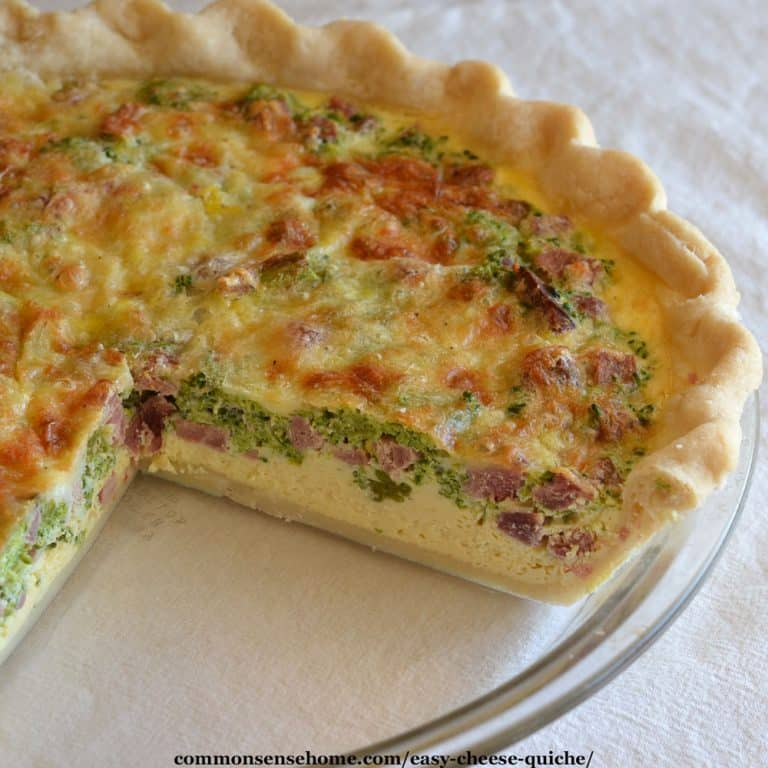 Easy Cheese Quiche Recipe with Fresh, Frozen or Freeze Dried Veggies