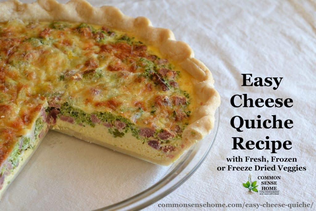 This easy cheese quiche recipe comes together in minutes for a quick and filling meal. It works well with fresh, frozen or freeze dried veggies.