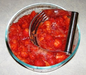 Chopped strawberries for shortcake