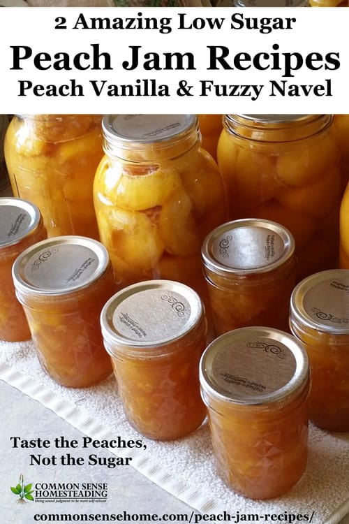 These low sugar peach jam recipes combine ripe, juicy peaches with other fresh ingredients to make truly unique homemade jams. Includes freeze jam option.