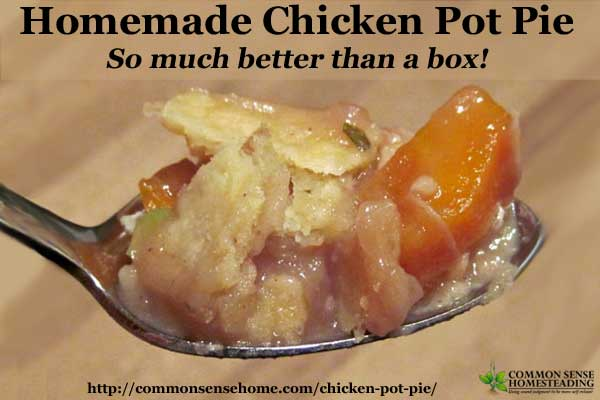 Homemade Chicken Pot Pie recipe with flaky, homemade crust, rich broth and plenty of meat and vegetables. Never buy a store pot pie again.