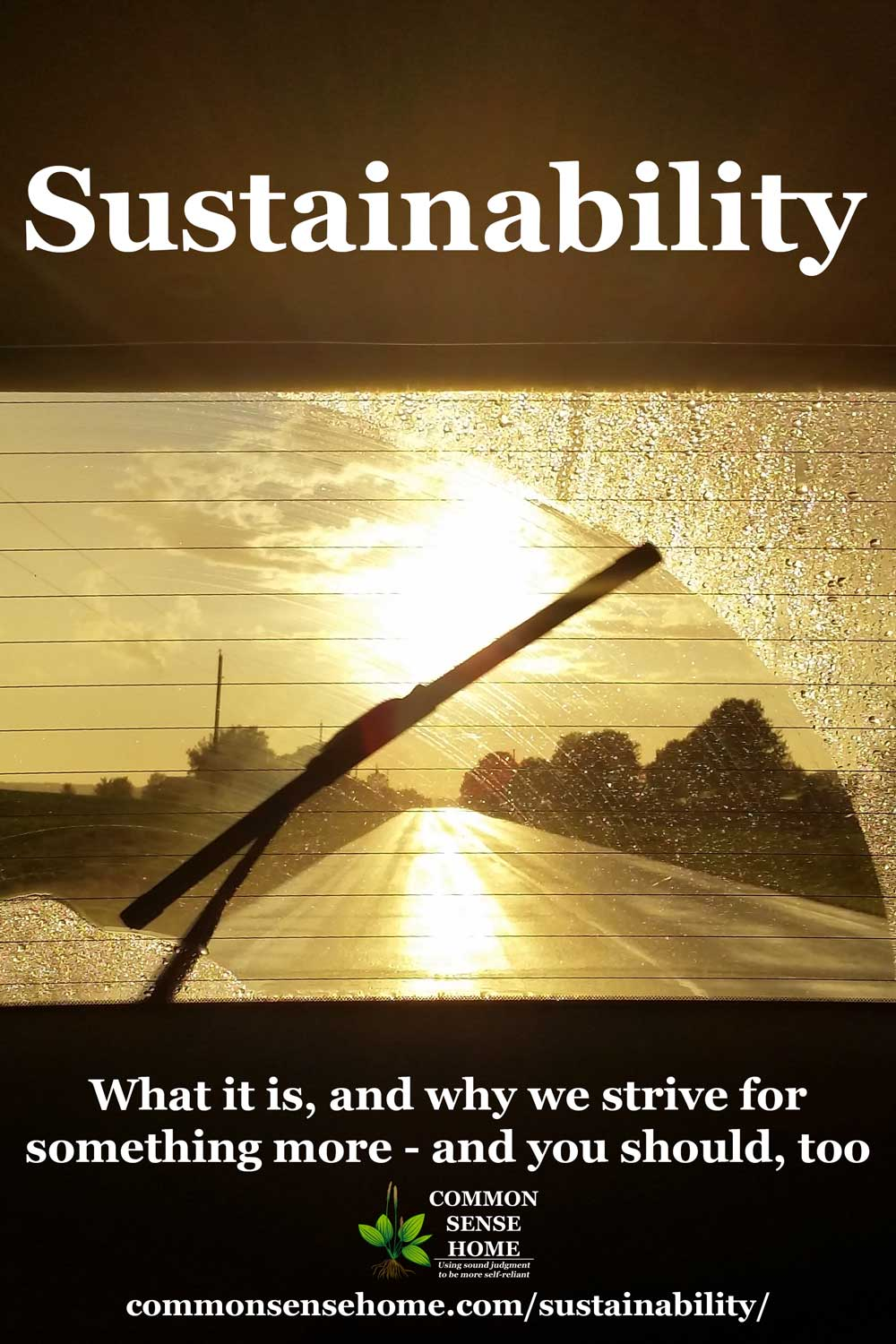 "wiper blade clearing window with sun shining through rain, ""Sustainability"" text"
