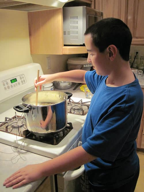 Boys making mozzarella cheese @ Common Sense Homesteading