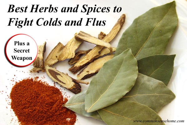 "Best Herbs and Spices for Cold and Flu - prevent colds and fight the flu with these natural remedies from your pantry and a ""secret"" weapon for your home."