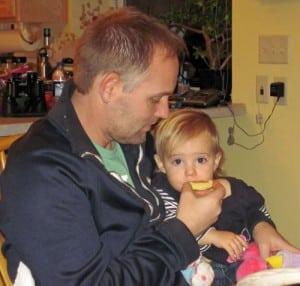 Baby eating kolache