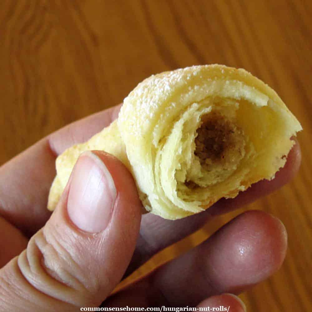 Hungarian nut roll - cross section with filling