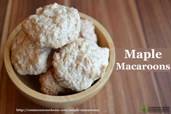 Maple macaroons are a light, crispy, easy to make cookie sweetened with real maple syrup. Gluten free, dairy free, and refined sugar free.