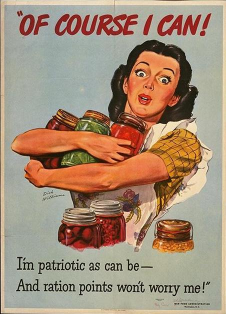 """Of Course I Can"" WWII poster featuring woman with arms full of home canned foods"
