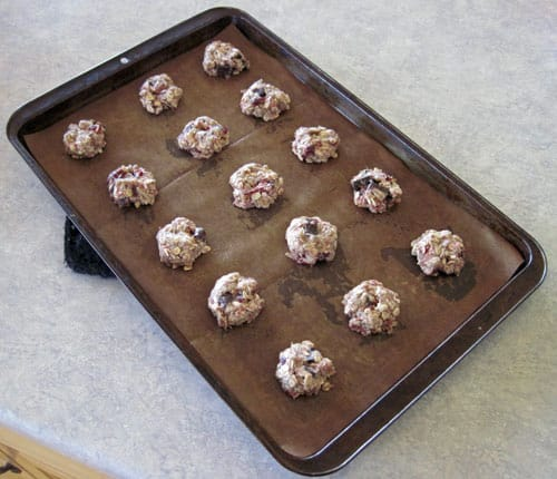 Chocolate raspberry granola cookies ready to bake