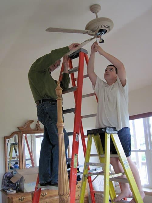 Helping Grandpa put up a ceiling fan