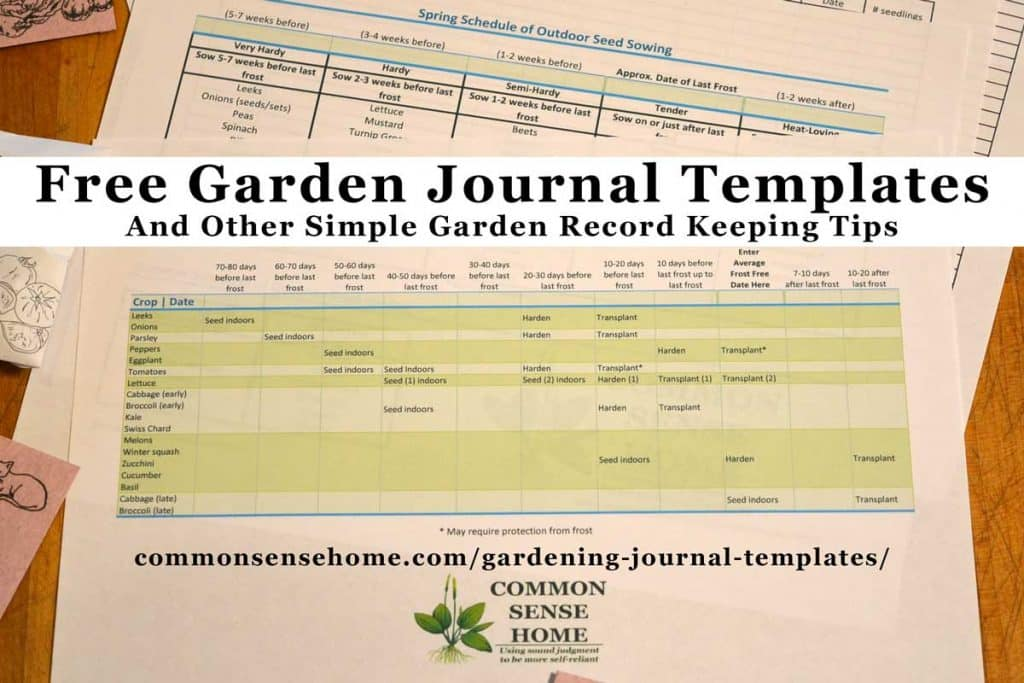 Free Gardening Journal Templates, Including Seed Sowing Schedule, Plant  Spacing And Seed Longevity Charts  Free Journal Templates
