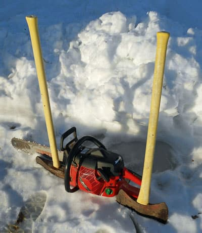 Tools of the trade for making firewood