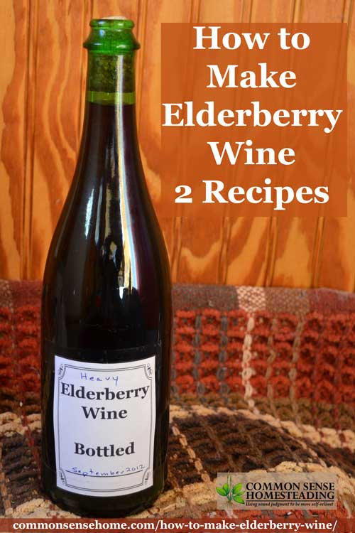 Two recipes for old fashioned elderberry wine, plus tips for finding elderberries in the wild, and cleaning and processing the elderberries with less mess.