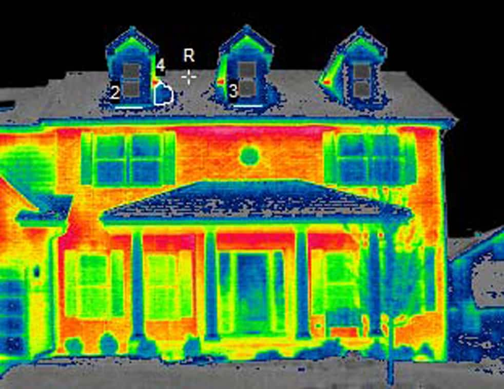 infrared photo of stick built (conventional) home @Common Sense Homesteading