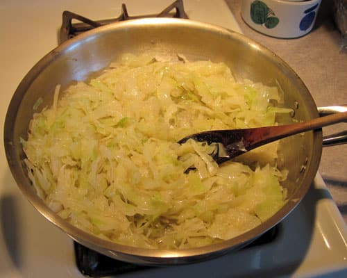 cabbage and onions for haluska