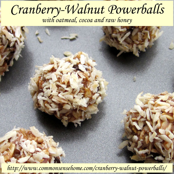Cranberry-Walnut Powerballs made w/ oats, ground flax seed, cocoa powder, dried cranberries, walnuts, chocolate chips, peanut butter, honey and coconut oil.