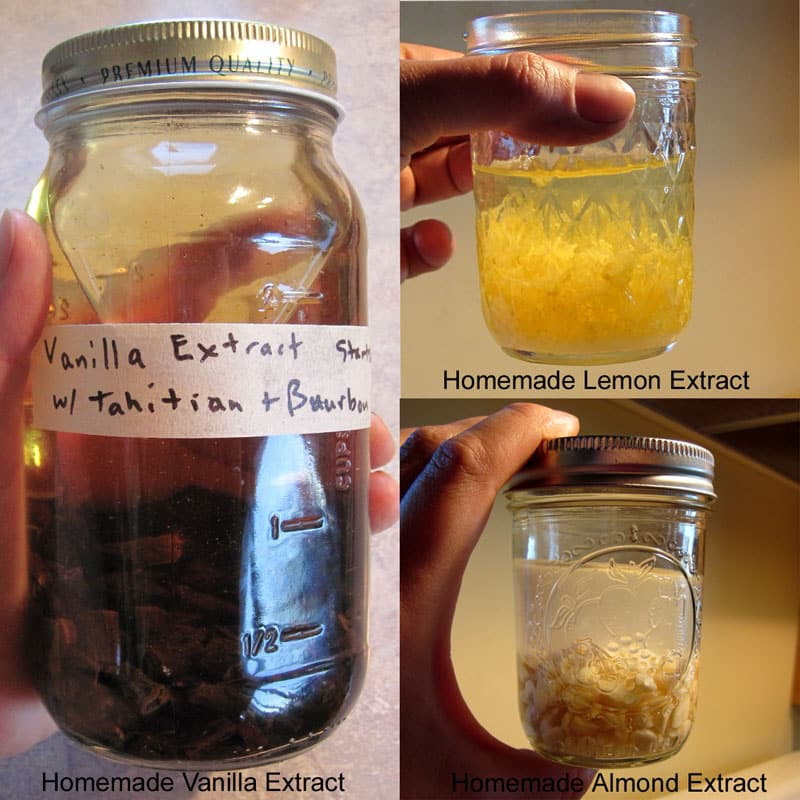 How to Make Homemade Extracts - Vanilla, Lemon and Almond. Save money, create custom extracts. Includes printable extract labels. @ Common Sense Homesteading