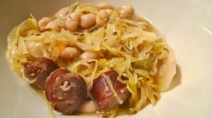 sauerkraut, bean and sausage soup