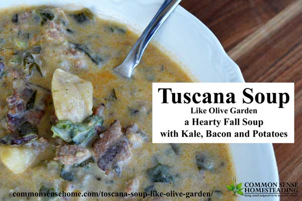 Toscana soup like Olive Garden - a hearty soup featuring sausage, bacon, potatoes, cream and kale. Great paired with fresh baked bread.
