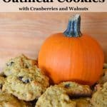 These easy to make soft Pumpkin Oatmeal Cookies are chewy, nutty and delicious. Works well with a variety of flour types, including gluten free flour blends