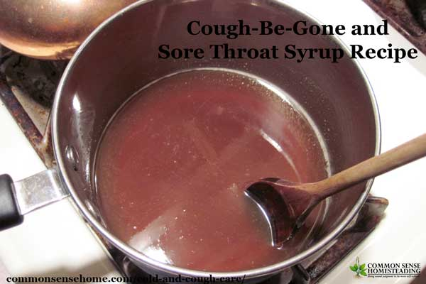 Herbal Cold and cough care - Cough-Be-Gone and Sore Throat Syrup and Cold and Flu Tea recipes with natural antihistamines and soothing herbs.