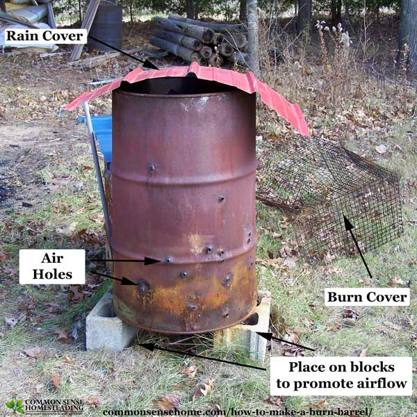 Burn barrel on blocks with rain cover in place.
