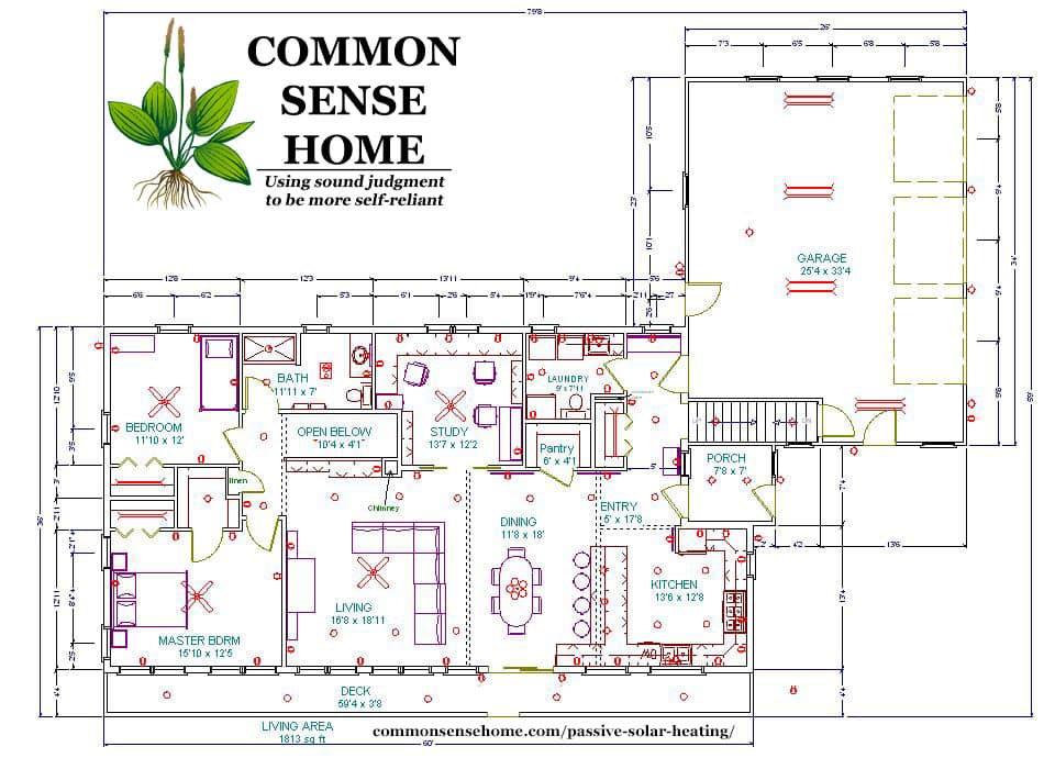 Passive Solar Home Main Floor Blueprint