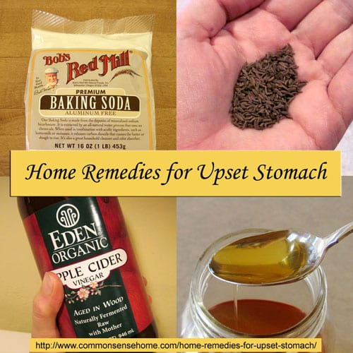 7 Home Remedies for Upset Stomach, plus recommendations on how to avoid it in the first place. @ Common Sense Homesteading  #homeremedies #upsetstomach