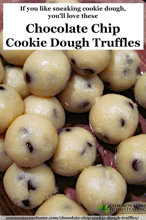 Chocolate Chip Cookie Dough Truffles are made with almond flour and coconut oil and sweetened with honey. Gluten free, Casein free. Tastes like cookie dough