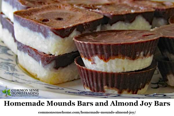 Make your own homemade mounds bars and almond joy bars with no refined sugar and natural coconut, coconut oil and cocoa powder.
