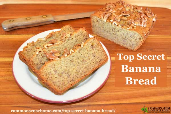 "Moist and delicious homemade banana bread recipe with two ""secret"" ingredients that give it great flavor and texture - not dry and crumbly!"
