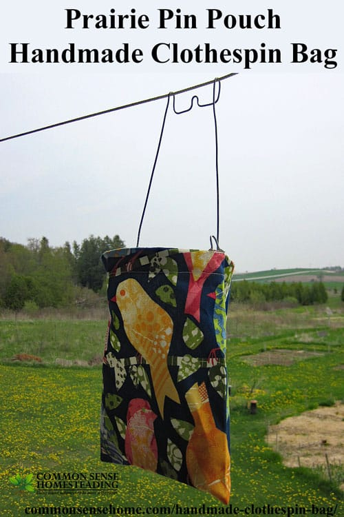 The Prairie Pin Pouch Handmade Clothespin Bag is sturdy enough for high winds and heavy use, resembling clothespin bags from the 1950's.
