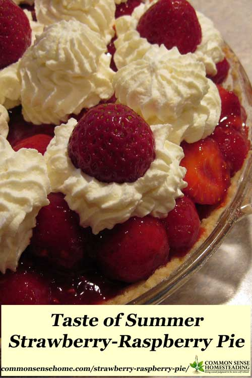 Strawberry-Raspberry Pie - a sugar cookie crust filled with fresh strawberries in a strawberry-raspberry puree, and topped with sweetened whipped cream.