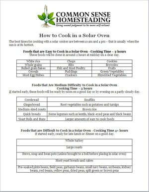 Printable Solar Cooking Guide