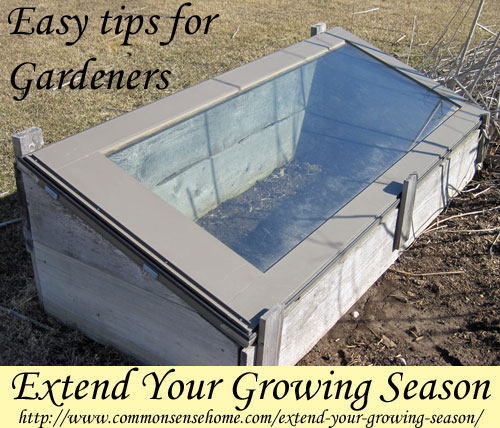 Extend Your Growing Season - how to use seed starting, microclimates, raised beds, cold frames and greenhouses for season extension in your garden.