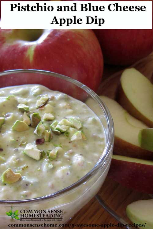 Easy to make homemade apple dip recipes. Homemade Caramel Apple Dip , Chocolate Almond, Maple Bacon, Walnut Ricotta Cream, and Pistachio and Blue Cheese.